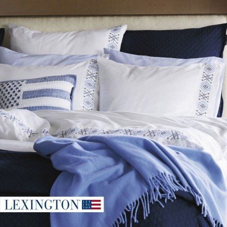 Lexington Bettwäsche Poplin Embroidery blau