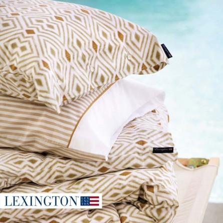Lexington Bettwäscheset Printed Sateen beige / weiß
