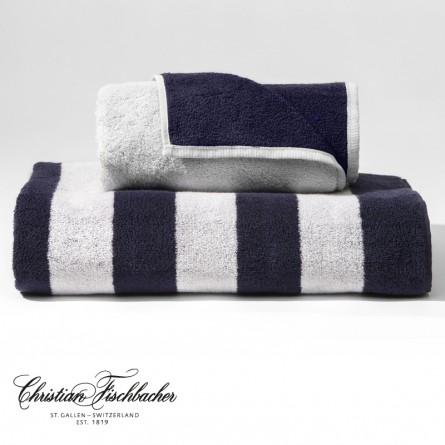 Christian Fischbacher Handtuch Dreamflor Doubleface & Stripes weiß/night blue