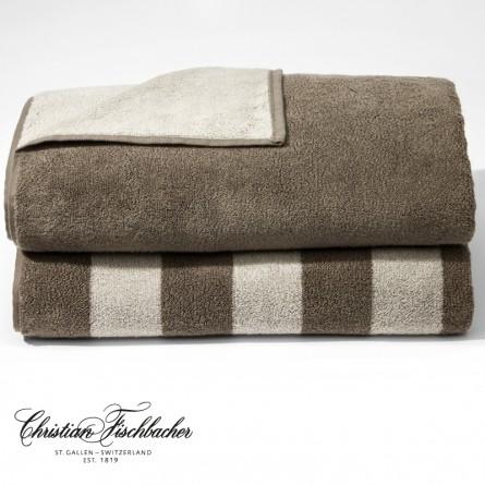 Christian Fischbacher Handtuch Dreamflor Doubleface & Stripes sand/rocky brown
