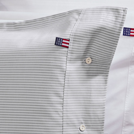 Lexington Bettwäsche Authentic Pin Point Oxford grau/weiß