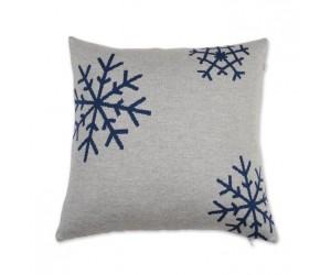 Lenz und Leif Dekokissen Snowflake grau/blau