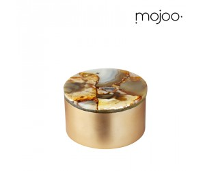 Mojoo Agate-Box rund small gold