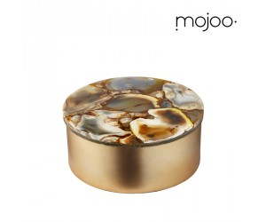 Mojoo Agate-Box rund medium gold