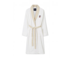 Lexington Bademantel Cotton Velour Contrast Robe weiss/beige