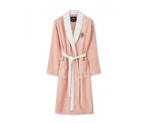 Lexington Bademantel Cotton Velour Contrast Robe rosa/weiss