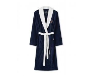 Lexington Bademantel Cotton Velour Contrast Robe blau/weiss