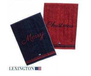 Lexington Handtücher 2er Set Merry Christmas red/blue