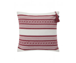 Lexington Dekokissen Jacquard Striped Sham weiß / rot (50 x 50cm)