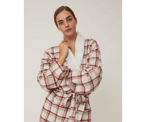 Lexington Bademantel Holiday Checked Cotton Flanell beige / rot