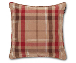 Lexington Dekokissen Holiday Checked Cotton Twill beige rot (50 x 50 cm)