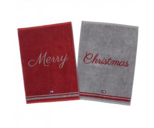 Lexington Handtücher Merry Christmas Towel rot / grau (50 x 70 cm)