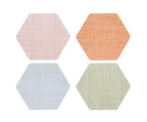 Chilewich 4er Set sechseckige Untersetzter Mini Basketweave -002 (12,7x12,7cm)