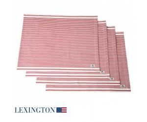 Lexington Platzset Living Authentic Stripe Oxford rot-weiß