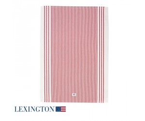 Lexington Küchentuch Living Authentic Stripe Oxford rot-weiß