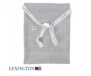 Lexington Halbschürze Authentic Stripe Oxford graphit-weiß