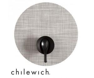 Chilewich Set Rund Basketweave weiß/silber