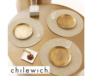 Chilewich Set Rund Basketweave weiß/gold