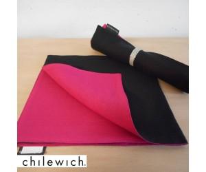 Chilewich Serviette Double/ Reversible black/cyclamen
