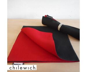 Chilewich Serviette Double/ Reversible black/pomodoro