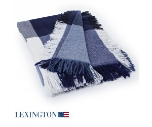 Lexington Decke Wool Square blau/grau