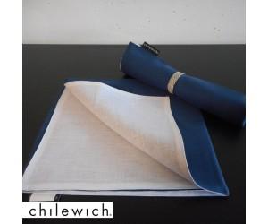 Chilewich Serviette Double/ Reversible denim/weiß