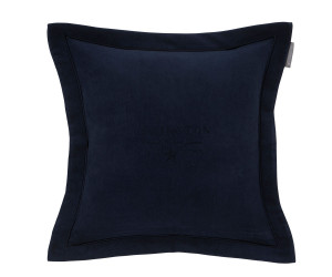 Lexington besticktes Samt-Dekokissen Hotel Velvet Sham with Embroidery blau (50x 50 cm)
