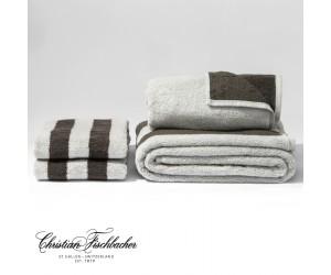 Christian Fischbacher Handtuch Dreamflor Doubleface & Stripes silber/anthrazit