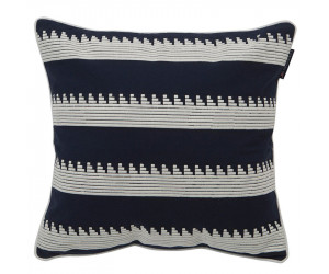 Lexington Dekokissen Embroidery Striped Sham blau/weiß (50 x 50 cm)