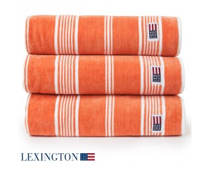 Lexington Handtuch Striped Velour orange/weiß