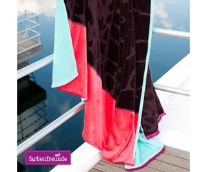 Farbenfreunde Jacquard Decke bordeaux/hibiskus/karibik