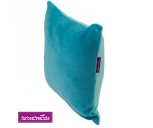 Farbenfreunde zweifarbiges Kissen aqua/karibik