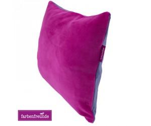 Farbenfreunde zweifarbiges Kissen fuchsia/aubergine