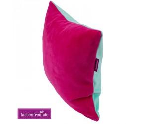 Farbenfreunde zweifarbiges Kissen himbeer/karibik