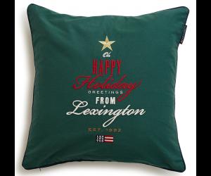 Lexington weihnachtliches Dekokissen Happy Holiday Twill Sham grün (50x50cm)