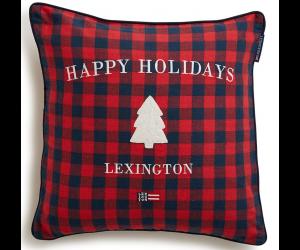 Lexington weihnachtliches Dekokissen Checked Sham rot-blau (50x50cm)
