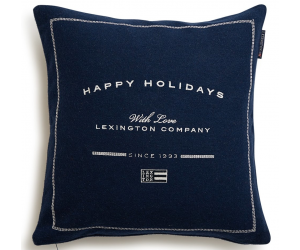 Lexington Dekokissen Happy Holiday Wool Sham blau (50x50cm)