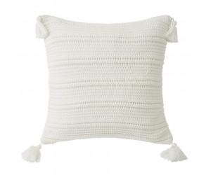 Lexington Dekokissen Knitted Tassel Sham gestrickt weiß mit Quasten (50 x 50 cm)