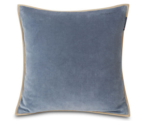 Lexington Dekokissen Velvet Cotton mit Kante stahlblau (50 x 50 cm)