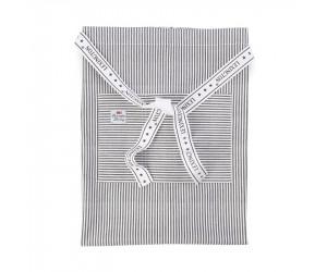 Lexington Halbschürze Authentic Stripe Oxford graphit/weiß