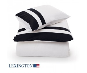 Lexington Bettwäsche Sateen Border blau/weiß