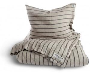 Lovely Linen vorgewaschene Leinen Bettwäsche Misty Stripe grau schwarz gestreift