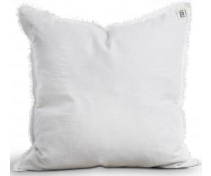 Lovely Linen ausgefranstes Dekokissen Misty raw edge weiß (47x47cm)