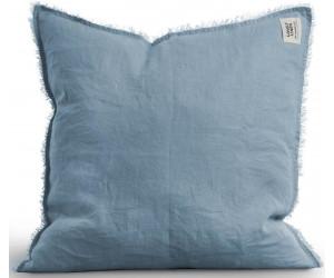 Lovely Linen ausgefranstes Dekokissen Misty raw edge hellblau (47x47cm)