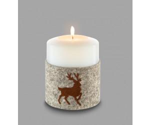 Qult Farluce Filzmanschette für Kerzenhalter braun Durchmesser 10 cm