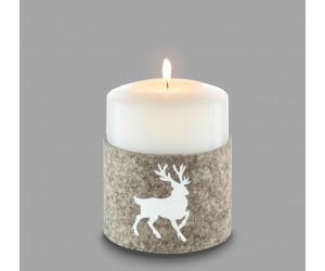 Qult Farluce Filzmanschette Kerzenhalter weiß Durchmesser 10 cm