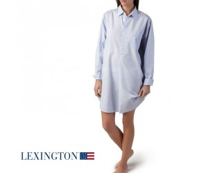 Lexington Basic Nachthemd hellblau gestreift