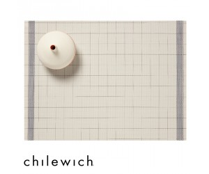 Chilewich Set Rechteckig Selvedge natural-blue