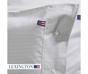 Lexington Bettwäsche Authentic Pin Point Oxford grau/weiß