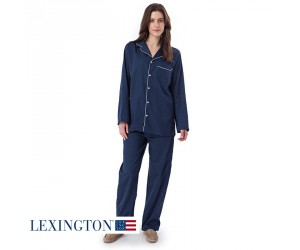 Lexington Regina Satin-Pyjama in navy